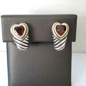 David Yurman Garnet Heart Shrimp Earrings